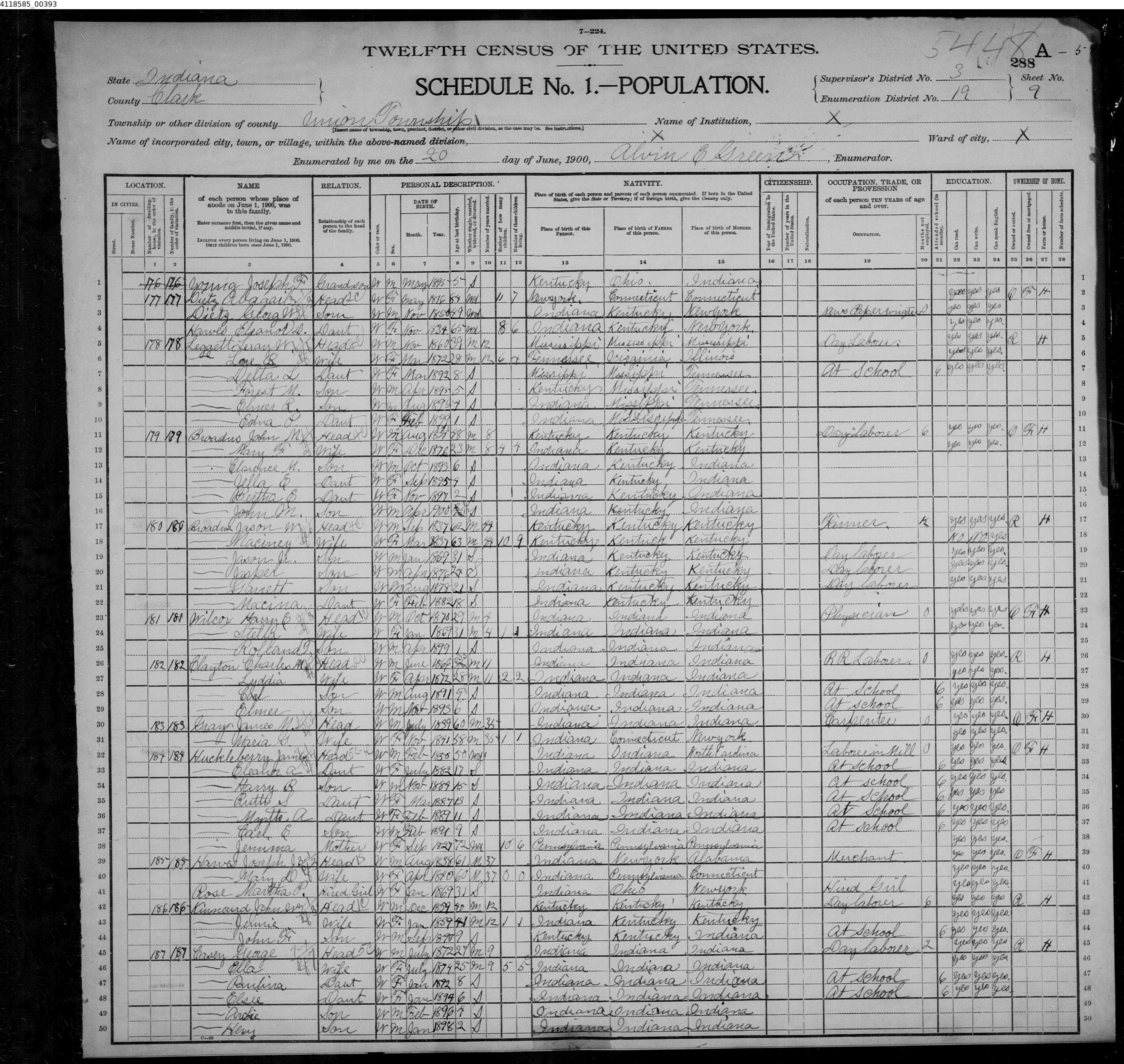 Wilcox 1900 census