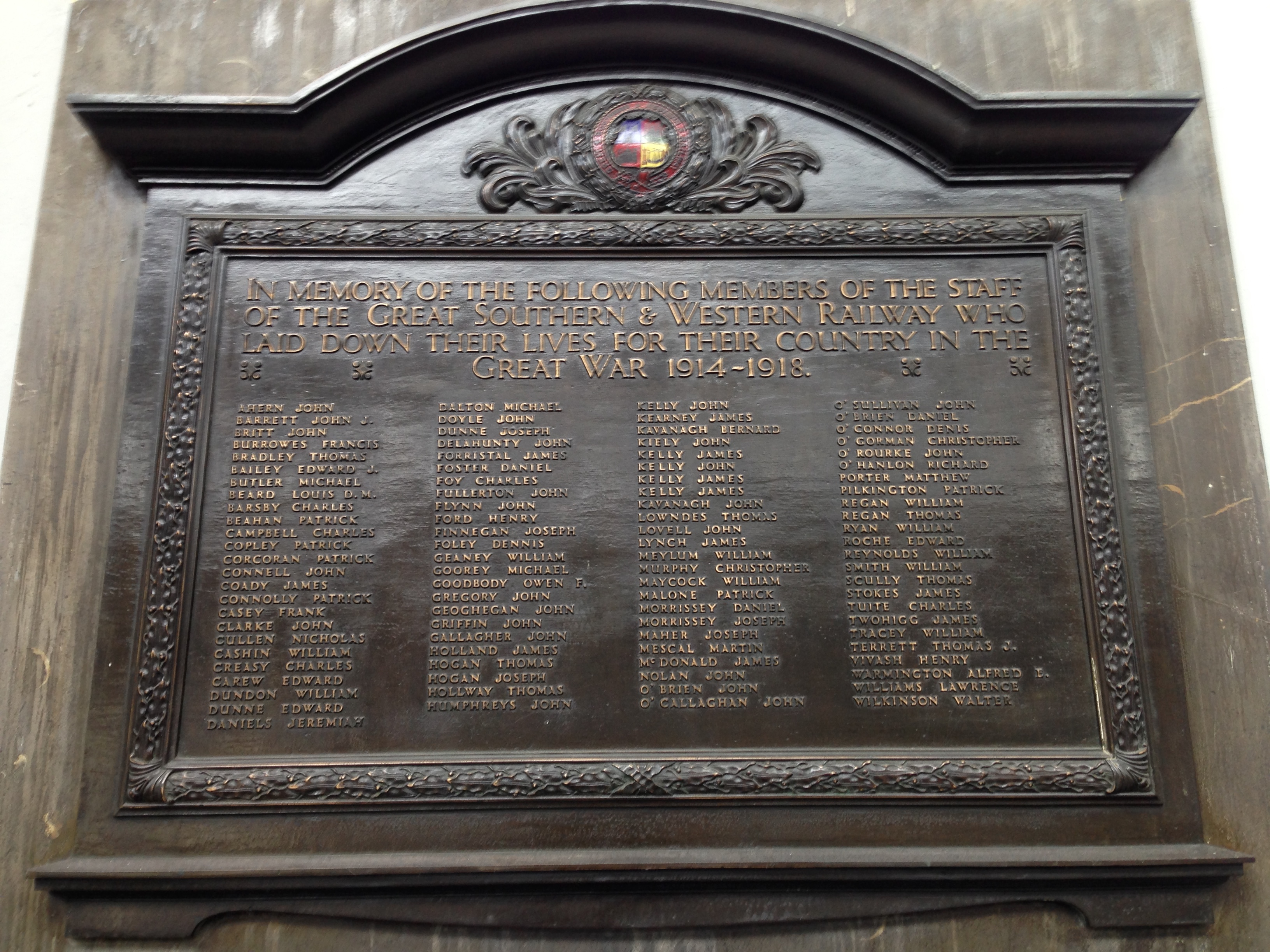 WWI plaque, Heuston Station
