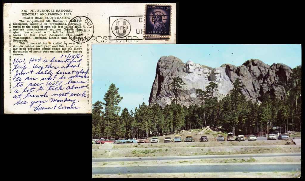 Postcard from Mt Rushmore